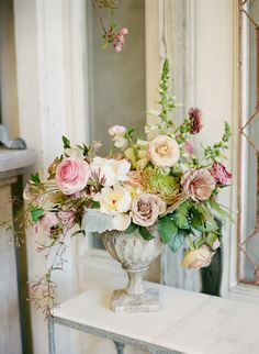 Wedding Flower Arrangements - For this bridal inspiration session, Southern Blooms by Pat's Floral Designs created an abundance of spectacular floral arrangements. Beautiful Flower Arrangements, Wedding Flower Arrangements, Silk Flowers, Wedding Centerpieces, Floral Arrangements, Beautiful Flowers, Tall Centerpiece, Wedding Tables, Orchid Flowers