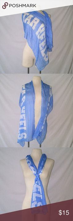 TAR Heels UNC Spirit Scarf UNC Chapel Hill Carolina Blue Lightweight Tar Heels Scarf. In excellent used condition. From a smoke free home. Make an offer! BUNDLE & Automatically Get 20% Off on 2+ Items.  New Feature Alert: Bundle one or more items and I'll make you a customized awesome offer! Just bundle and wait for my offer... Up to 40% off - the bigger the bundle the bigger the savings! Vintage Accessories Scarves & Wraps