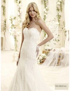 2015 mermaid sweetheart embroidery beading sweep train tulle wedding dresses