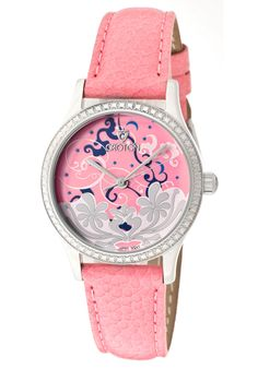 Price:$48.19 #watches Croton CN207317PKPK, Women's genuine leather strap watch with clouds and flowers on dial.