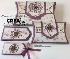 Anneke vertelt op het blog hoe ze de Pillow Boxes en bijpassende geldmapjes gemaakt heeft:  https://www.crealies.nl/detail/1939539/17-09-01-anneke.htm  http://crealies.blogspot.nl/2017/09/pillow-boxes.html  Crealies Stansen/Dies:  Create A Box no.3  Create A Box Mini no.3  Crea-Nest-Lies Extreme Labels and Tags no.8  X-tra no.101  Crea-Nest-Lies XXL no.61  Crea-Nest-Lies XXL no.64  Aparto no.2