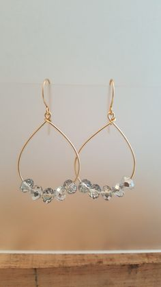 Silver Bead Earrings Brass Non Tarnish Wire Faceted by LGBStyles