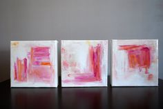 5x5 White/Pink Abstract set of 3 by mshartel on Etsy, $120.00