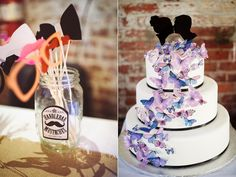 <3 this unique butterfly cake and fun photo booth accessories! (Green Building Brooklyn Wedding)
