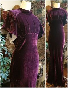 113c7bc44a Vintage Art Deco 1930's Amethyst Silk Velvet Dress Gown Hollywood Pinup 30s