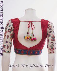 Raas The Global Desi-[blouse]-[choli]-[designer_blouse]-[readymade_saree_blouse]-[readymade_saree_blouses]-[readymade_saree_blouse_online_USA]-[blouse_design]-Raas The Global Desi Brocade Blouse Designs, Saree Blouse Neck Designs, Fancy Blouse Designs, Designer Blouse Patterns, Stylish Blouse Design, Blouse Online, Global Desi, Blouse Models, Blouses