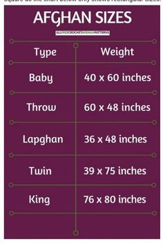 Size chart for afghans