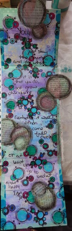The Documented Life: week 7 ;opened mixed media art journal page by Christy Butters. Details about using gelatos to get great blended colors.