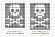 Skull & Crossbones Color Knitting Charts for Callum & Lil' Evan's dress-up/costu. Skull & Crossbones Color Knitting Charts for Callum & Lil' Evan's dress-up/costuming gifts Always aspired to discover wa. Knitting Charts, Knitting Stitches, Knitting Patterns, Halloween Knitting, Halloween Cross Stitches, Cross Stitch Skull, Cross Stitch Patterns, Fair Isle Chart, Crochet Skull