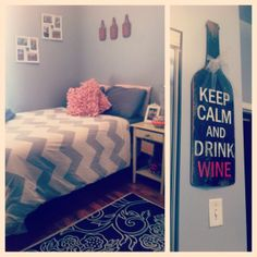 College apartment bedroom   //minus the drink wine thing//