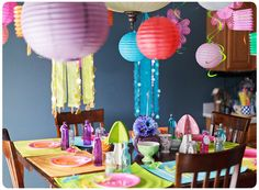 Wonderland birthday party. Love the colors and the lanterns... #wonderland #lanterns