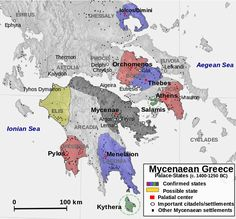 Reconstruction of the political landscape in c. 1400-1250 BC mainland southern Greece