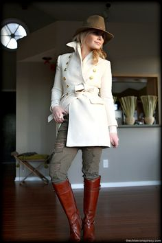 Outfit Of The Yesterday: Ivory + Cognac + Olive + Gold (& Tory Burch Calista Riding Boots)