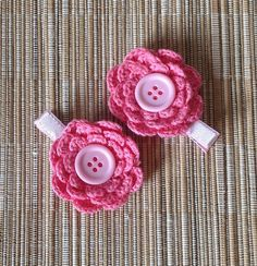 Sweet Pink pair of girl hair clips with crochet by AVintageCastle, $4.95