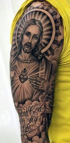 Jesus Tattoos - Tons of Jesus Tattoo Designs & Ideas - Tattoo Me Now Jesus Tattoo Sleeve, Religious Tattoo Sleeves, Chicano Tattoos Sleeve, Irezumi Tattoos, Tribal Tattoos, Jesus Hand Tattoo, Men Tattoos, Men Tattoo Sleeves, Religious Tattoos For Men