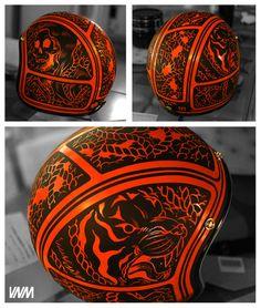 Daaamn, done with Orange one shot on a black Biltwell lid.