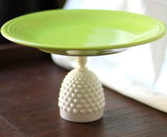 12  Cake Pedestal in Apple Green (almost Chartreuse Green ) / Ceramic Cake Stand & 14