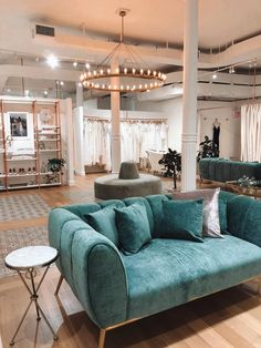 Here's why you need to have your bridal appointment at the Grace Loves Lace New York Bridal Salon. Bridal Boutique Interior, Boutique Interior Design, Showroom Design, Boutique Decor, Rose Boutique, Wedding Furniture, Velvet Furniture, Wedding Dress Boutiques, Interior Concept