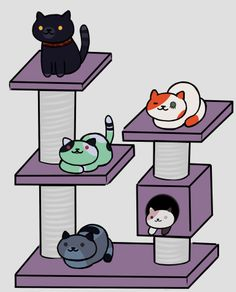 Cinder, Roman, Emerald, Neo, and Mercury as Neko Atsume cats!