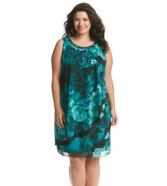 S.L. Fashions Plus Size Floral Beaded Dress