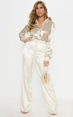 The Champagne Satin Rope Belt Trouser. Head online and shop this season's range of trousers at PrettyLittleThing. Satin Top, Satin Skirt, Silk Satin, Satin Material, Satin Blouses, Beautiful Blouses, Wide Leg Trousers, Slim Legs, Champagne