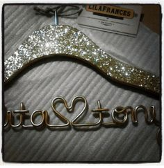 Gatsby Themed Sparkle Wedding Hanger Personalized by lilafrances, $23.50
