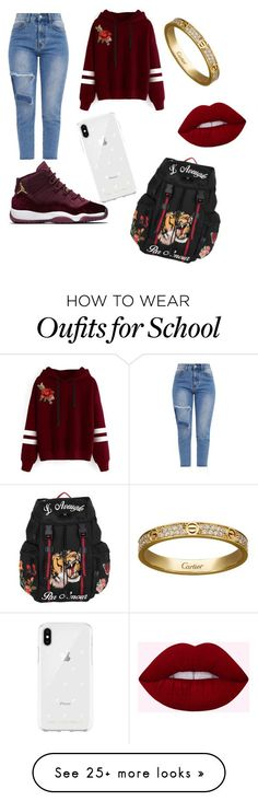 """School outfits"" by jenadieu on Polyvore featuring WithChic, Rebecca Minkoff, Cartier and Gucci #polyvoreoutfits"
