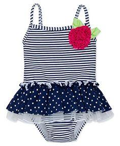 Little Me Baby Girls' One Piece Ruffle Swimsuit, Navy Stripe, 18 Months