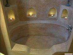 Cob tub sealed with Tadelakt