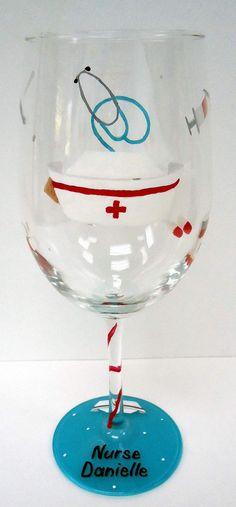 NURSE WINE GLASS  hand painted wine glass  by Pendragonartworks, $20.00