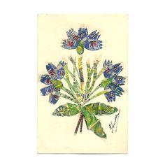 French Antique lllustrated Die-Cut Purple Flower Stamps Postcard, Violet Iris Illustration, Scrapbooking