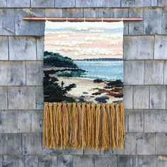 """303 Likes, 15 Comments - Allison Pinsent Baker (@shadbayweaving) on Instagram: """"The Beach on Hearn Island 17"""" X 28"""" hand woven tapestry mounted on 24"""" copper pipe. Natural…"""" Weaving Tools, Weaving Art, Weaving Projects, Tapestry Weaving, Loom Weaving, Hand Weaving, Weaving Textiles, Textile Fiber Art, Woven Wall Hanging"""