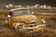 Chevy Pickup Truck On The Prairie is a photograph by Randall Nyhof. Source fineartamerica.com Chevy Pickup Trucks, Old Ford Trucks, Classic Chevy Trucks, Chevrolet Trucks, Chevy Pickups, Farm Trucks, Rusty Cars, Truck Art, Rat Rods