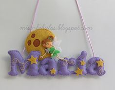 Baby name felt NIGHT FAIRY AND MOON - Nombre bebe fieltro NOCHE HADA Y LUNA CONTACT: carmenmissfabulas@gmail.com