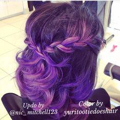 Simple updo, pravana purple.