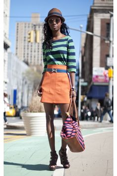 orange skirt green striped top