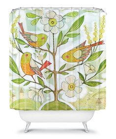 Add an element of chic comfort to bedroom décor. Fresh and nature-inspired, this shower curtain is custom printed for each order through a six color dye process and even features buttonhole openings for quick and easy installation.Shower rings not included69'' W x 72'' HPolyester microfiber