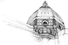 Duomo detail sketch, 2004, Florence, Italy