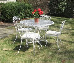 vintage wrought iron patio set by lyon shaw woodard
