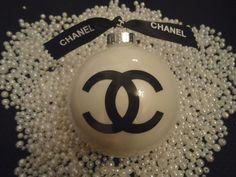 CHANEL INSPIRED GLASS CHRISTMAS TREE ORNAMENT SHINY WHITE BLACK CC CHANEL RIBBON EXTRA LARGE 5