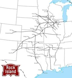 The Chicago, Rock Island and Pacific Railroad was a fabled Midwestern granger that struggled after the A botched merger and strike led to its liquidation in Us Railroad Map, Rock Island Railroad, Railroad History, Train Map, Train Route, System Map, Islands In The Pacific, Island Map, Train