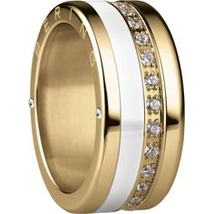 Bering - Combi-Ring - Wide Ladies Gold Plated Stainless Steel w/ Slim... (210 AUD) ❤ liked on Polyvore featuring jewelry, rings, ceramic jewelry, cz rings, cz jewelry, cubic zirconia rings and stainless steel gold ring