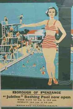 Borough of Penzance Jubilee Bathing Pool now open weekdays to Saturday to Keep Fit Classes Daily - Collections - Penlee House Gallery and Museum Penzance Cornwall UK Posters Uk, Railway Posters, Poster Prints, Retro Posters, Penzance Cornwall, West Cornwall, British Travel, British Seaside, English Summer