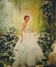 white dress in green garden, vintage