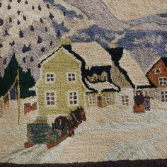 GEORGES ÉDOUARD TREMBLAY hooked rug. Clarence Gagnon image. 1940. signed. Quebec Canada folk art. tapestry. cs