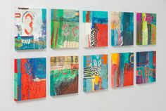 group of bold abstract paintings. Karen Stamper