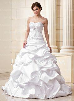 Gorgeous ruffles! Ball-Gown Sweetheart Court Train Satin Wedding Dress With Ruffle Lace Beadwork Sequins (002012635) - JJsHouse