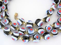 Venetian Millefiori Necklace Glass Beads Red White Blue