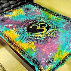 Om symbol gayatri mantra yoga indian chakra tie dye hippie wall hang tapestry bedspread - Thumbnail 1