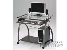 Vincent Silver Wood Glass Computer Desk